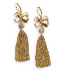 MILLY - Brown Bow Tassel Earrings - Lyst