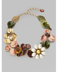 Oscar de la Renta - Metallic Floral Necklace - Lyst