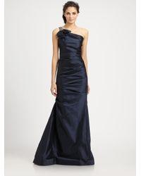 Teri Jon - Blue Asymmetrical Taffeta Gown - Lyst