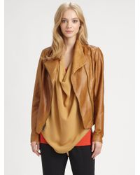 Vince | Brown Scuba Leather Jacket | Lyst
