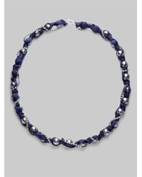ABS By Allen Schwartz - Blue Glass Pearl Ribbon Strand Necklace - Lyst