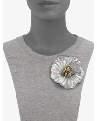 Alexis Bittar - Metallic Neo Deco Large Crystal Flower Pinsilver - Lyst