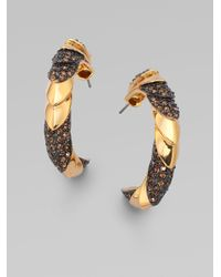 Giles & Brother | Metallic Smokey Quartz Accented Armor Hoop Earrings | Lyst