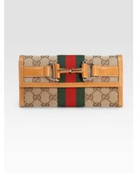 Gucci | Brown Heritage Chain Wallet | Lyst