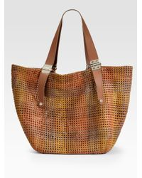 Jimmy Choo - Brown Phebe Woven Leather Shoulder Tote - Lyst
