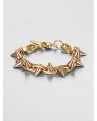 Joomi Lim - Pink Twotone Doublespiked Bracelet - Lyst