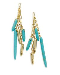 Kara Ross | Green Turquoise Stick Dangle Earrings | Lyst
