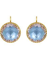 Larkspur & Hawk - Blue Topaz Olivia Button Earrings - Lyst