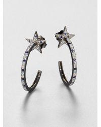 M.c.l  Matthew Campbell Laurenza | Metallic Sapphire and Sterling Silver Star Hoop Earrings | Lyst
