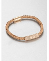 Michael Kors - Brown Thin Braided Leather Pave Acute Bead Bracelet - Lyst