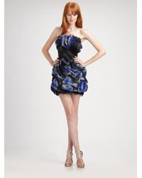 Notte by Marchesa | Black Strapless Belted Organza Dress | Lyst