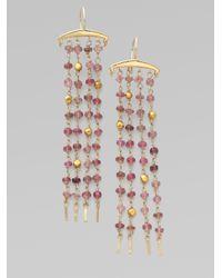 Padma - Metallic Pink Tourmaline 14k and 18k Yellow Gold Earrings - Lyst