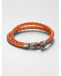 Tod's - Orange Leather Double-wrap Bracelet for Men - Lyst