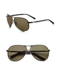 Tod's | Brown Metal & Leather Aviator Sunglasses for Men | Lyst