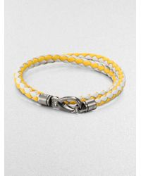 Tod's | Yellow Leather Double-wrap Bracelet | Lyst