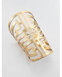 Tory Burch - Metallic Wide Labyrinth Cuff Bracelet - Lyst