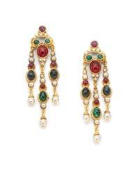 Ben-Amun | Green Byzantine Triple Chandelier Earrings | Lyst