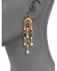 Ben-Amun - Green Byzantine Triple Chandelier Earrings - Lyst
