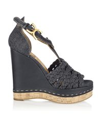 Chloé - Black Denim Wedge Sandals - Lyst