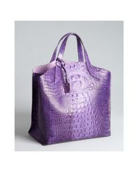 Furla - Purple Electric Plum Croc Embossed Leather Jucca Shopper Tote - Lyst