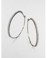 Michael Kors | Metallic Pavé Hoop Earrings Silvertone | Lyst