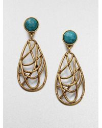 Oscar de la Renta - Metallic Turquoise and Quartz Drop Earrings - Lyst