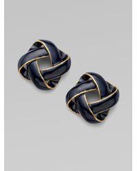 Oscar de la Renta - Blue Mosaico Button Earrings - Lyst