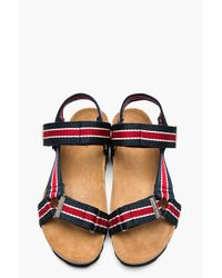 DSquared² | Navy Red Striped Multistrap Sandals for Men | Lyst