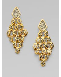 Kara Ross - Metallic Dragon Scale Chandelier Earrings - Lyst
