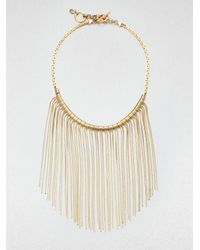Michael Kors | Metallic Fringe Bib Necklace | Lyst