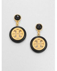 Tory Burch | Metallic Logo Medallion Drop Earrings | Lyst
