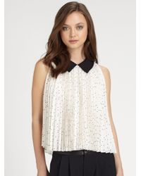 Alice + Olivia | Natural Mayre Pleated Silk Trapeze Blouse | Lyst