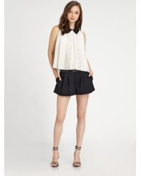 Alice + Olivia - Natural Mayre Pleated Silk Trapeze Blouse - Lyst