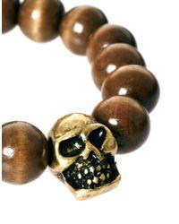 ASOS - Brown Bead and Skull Bracelet for Men - Lyst