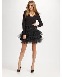 BCBGMAXAZRIA | Black Tiered Tulle Skirt | Lyst