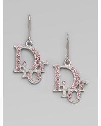 Dior | Metallic Logo Drop Earrings | Lyst