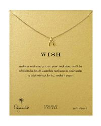 Dogeared | Metallic Gold Plated Teeny Wishbone Necklace | Lyst