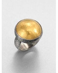 Gurhan - Metallic Amulet 24k Yellow Gold & Blackened Sterling Silver Dome Ring - Lyst