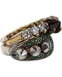 Iosselliani | Metallic Fused Stone Ring Trio | Lyst
