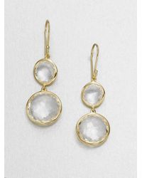 Ippolita | Metallic Lollipop Clear Quartz & 18k Yellow Gold Double-drop Earrings | Lyst