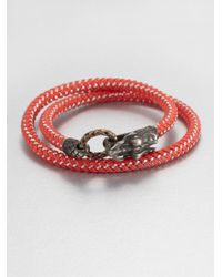 John Hardy | Red Braided Wrap Sterling Silver Bracelet | Lyst