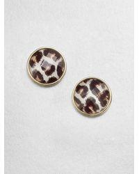 kate spade new york - Metallic Leopard Button Earrings - Lyst