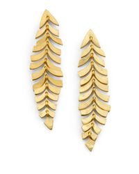 Kevia - Metallic Leaf Drop Earrings - Lyst