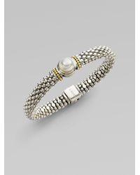 Lagos - Metallic Sterling Silver Freshwater Pearl Caviar Beaded Bracelet - Lyst
