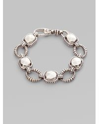 Lagos | Metallic Sterling Silver Rock Circle Link Bracelet | Lyst