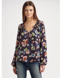 Rebecca Taylor - Gray Silk Poppy Print Blouse - Lyst