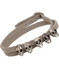 Roda - Gray Silver Skull Suede Wrap Bracelet for Men - Lyst