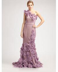 Tadashi Shoji | Purple Flower Detail One Shoulder Gown | Lyst