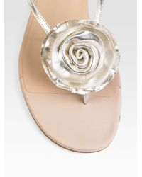 Valentino | Metallic Leather Rose Sandals | Lyst