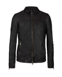 AllSaints | Black Tricky Leather Bomber Jacket for Men | Lyst